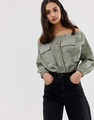 Asos DESIGN Casual Off Shoulder Top with Utility Detail