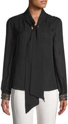 Ramy Brook Embellished Cuff Tie Blouse