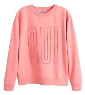 MANGO Embossed message sweatshirt