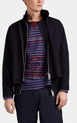 Sacai Men's Harrington Spider-Embroidered Layered Cotton Twill Jacket - Navy