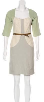 Lela Rose Linen-Blend Mini Dress