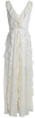 Valentino Embellished Ruffled Silk Crepe De Chine Gown