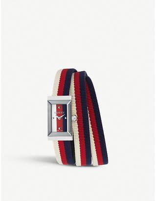 ed272549a3d Gucci YA147502 G-Frame fabric strap stainless steel quartz watch