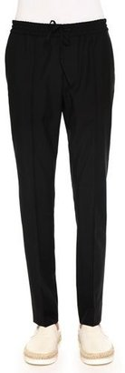 Valentino Tapered-Leg Drawstring Trousers, Black $695 thestylecure.com