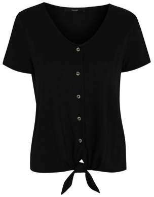 George Black Textured Button-Down Tie Front Top