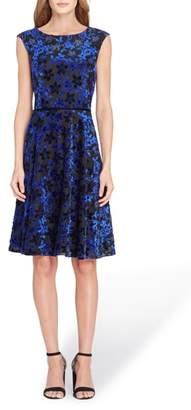 Tahari Flocked Velvet A-Line Dress