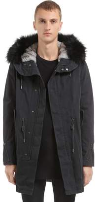 Yves Salomon Fitted Canvas Parka W/ Fur Trim & Lining