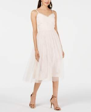 Betsey Johnson Tweed & Tulle Midi Dress