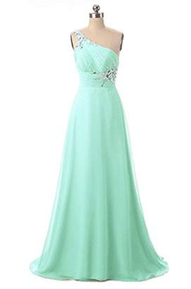 Angela One Shoulder Beaded Long Evening Prom Dresses Chiffon Wedding Party Gowns