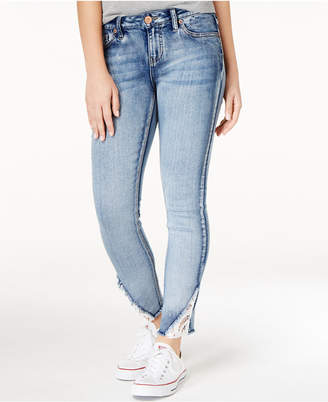 Rampage Juniors' Sophie Lace-Inset Skinny Jeans