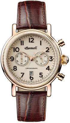 Ingersoll WATCHES Daniells Chronograph Leather Strap Watch, 44mm