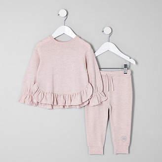 River Island Mini girls Pink frill hem sweat set