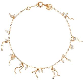 Sweet Pea Pearl and Moonstone Punk Chain Bracelet - Yellow Gold