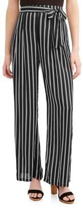 Eye Candy Juniors' Pinstriped Palazzo Gauze Pant w/ Tie Waist