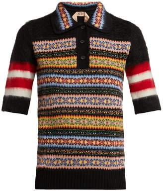 No.21 NO. 21 Patterned wool-blend polo shirt