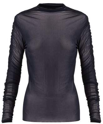 Jil Sander Ruched Long Sleeve Tulle Top - Womens - Dark Blue