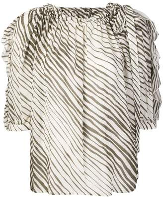 See by Chloe striped ruched neck blouse