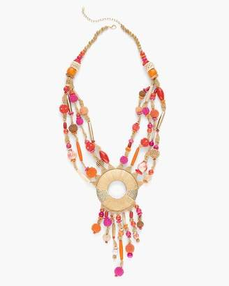 Warm Seed Bead Pendant Necklace
