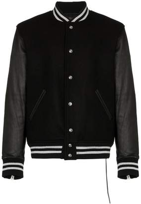 Mastermind World logo embellished leather varsity jacket