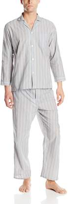Geoffrey Beene Men's Big-Tall Striped Broadcloth Pajama Set