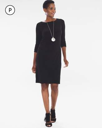 Petite Solid Ruched-Sleeve Dress