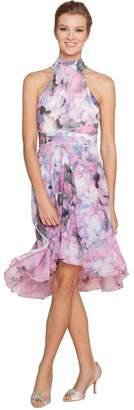 Le Château Women's Floral High-Low Halter Dress,M