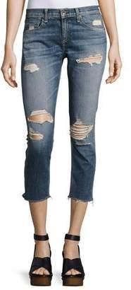 rag & bone/JEAN Dre Capri Distressed Denim Jeans, Indigo $250 thestylecure.com
