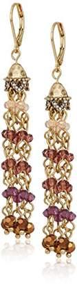 lonna & lilly Gold Tone Beaded Tassel Drop Earrings