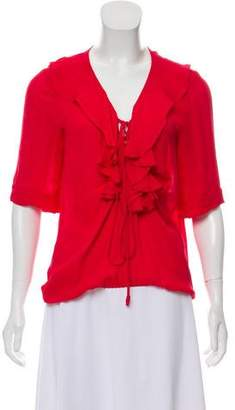 Ramy Brook Ruffle-Accented Short Sleeve Blouse