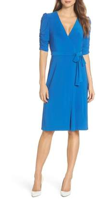 Eliza J Ruched Sleeve Faux Wrap Dress