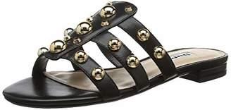 Dune Women's Nahlah Open Toe Sandals, Black-Leather, 6 (39 EU)