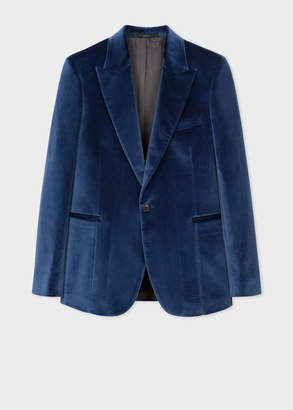 Paul Smith Men's Tailored-Fit Slate Blue Velvet Blazer