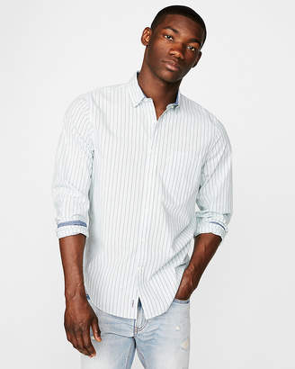 Express Classic Soft Wash Striped Button-Down Shirt