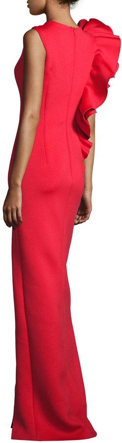 Jovani Sleeveless Ruffle-Trim Crepe Column Gown 2