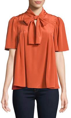 Diane von Furstenberg Neck-Tie Short Sleeve Silk Blouse