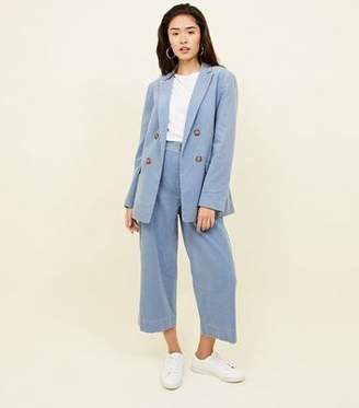 New Look Blue Double Breasted Corduroy Blazer