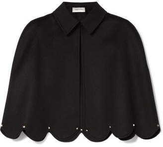 Valentino Studded Scalloped Wool And Cashmere-blend Cape - Black