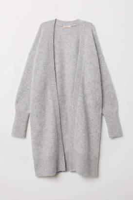 H&M Long Wool-blend Cardigan - Gray
