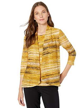 Kasper Women's Plus Size Long Sleeve HIGH Low Knit Jacquard Cardigan