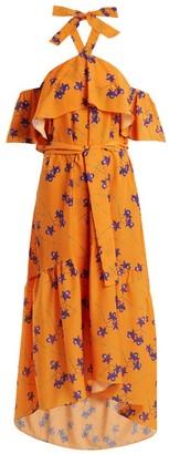 Borgo de Nor Josephine Orchid Print Off The Shoulder Dress - Womens - Orange Multi