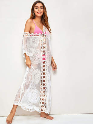 Shein Embroidered Mesh Cut-out Sheer Cover Up