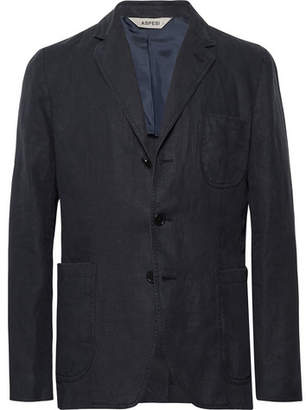 Aspesi Midnight-Blue Slim-Fit Unstructured Linen Blazer