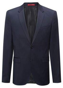 HUGO Boss Extra-slim-fit jacket in yarn-dyed virgin wool 44L Dark Blue