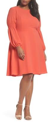 London Times Smocked Puff Sleeve Fit & Flare Dress