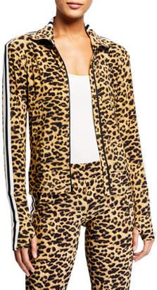 Norma Kamali Leopard-Print Side Stripe Turtleneck Jacket