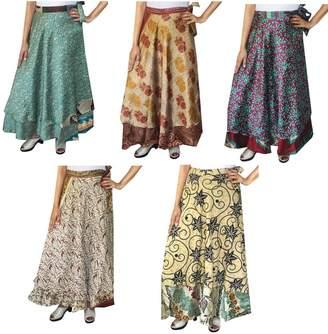 Maple Clothing Wholesale 5 Pcs Lot Two Layers India Sari Magic Wrap Around Long Skirt