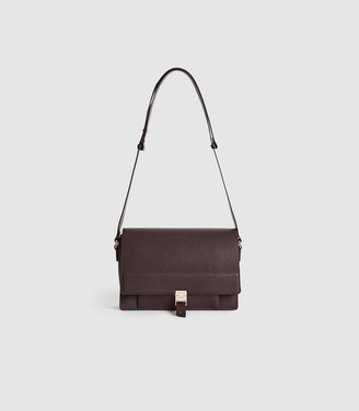 Reiss MADISON LEATHER SHOULDER BAG Berry