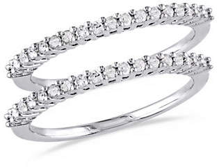 HBC CONCERTO Silver Diamond Two-Piece Sterling Silver Anniversary Rings with 0.33 TCW Diamonds