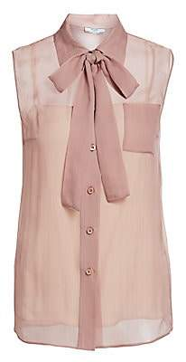 Prada Women's Sleeveless Chiffon Tie-Neck Blouse