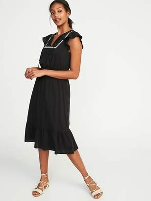 Old Navy Embroidered Waist-Defined Dress for Women